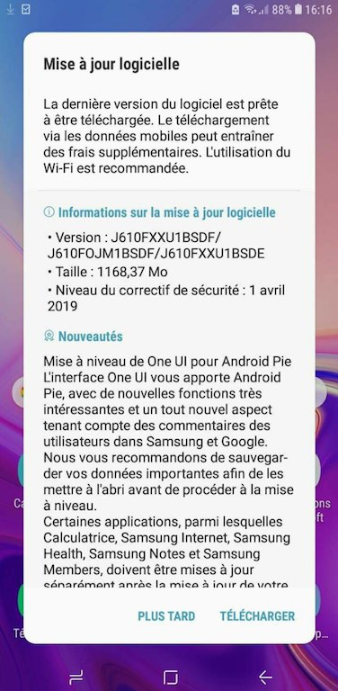 galaxy j6 plus android pie