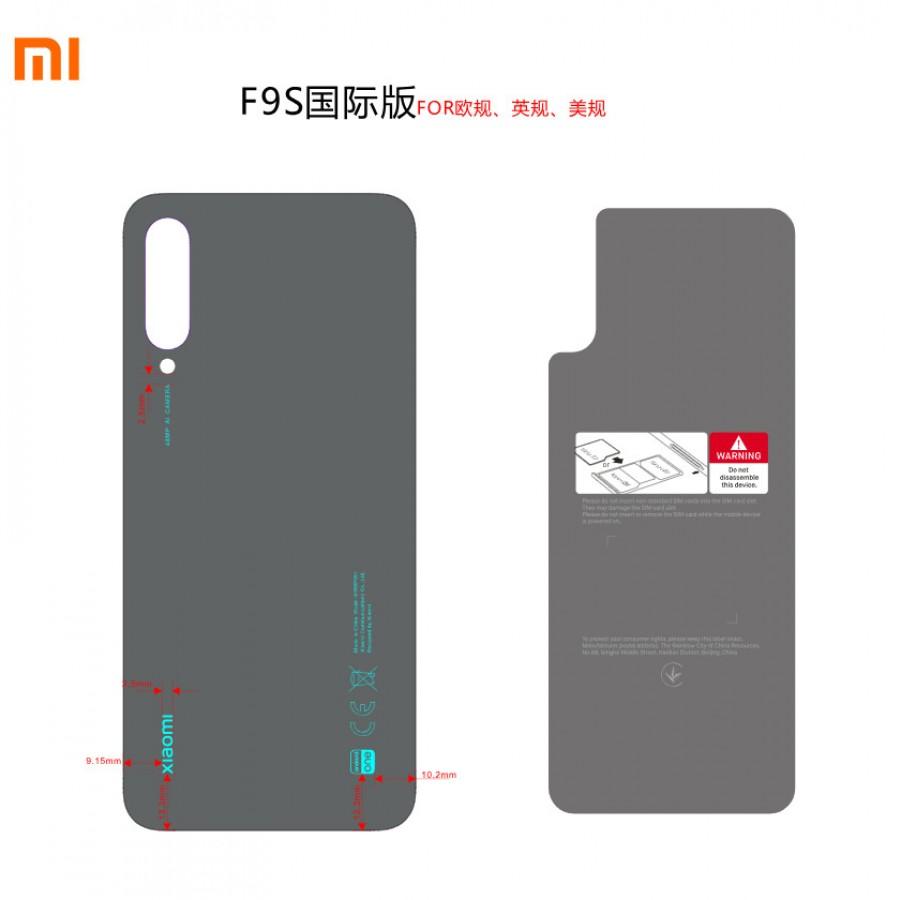 Schéma de l'arrière du prochain téléphone Android One de Xiaomi - probablement le Mi A3