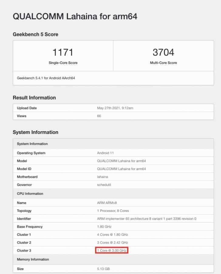 Snapdragon 888+ listé sur Geekbench